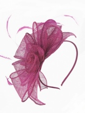 Raspberry Pink Sinamay & Feather Hairband Fascinator
