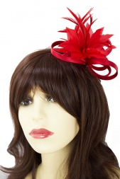 Red Satin Loop & Feather Flower Comb Fascinator