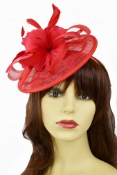 Red Small Sinamay Saucer Hat with Hairband & Clip