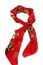 Large Square Red & Floral Vintage Style Scarf