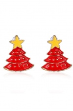 Red Christmas Tree Stud Earrings with Gift Box