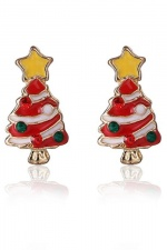Red & White Christmas Tree Stud Earrings