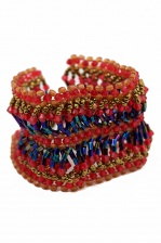 Red, Blue & Gold Pretty Beaded Bracelet