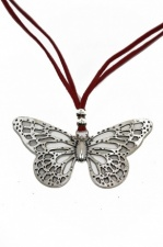 Butterfly Pendant with Red Suede Adjustable Necklace