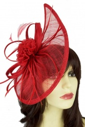 Large Red Contemporary Style Fascinator