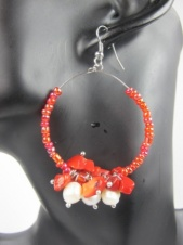 Red Coral & Freshwater Pearl Hoop Fashion Earrings