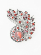 Red Crystal & Antique Silver Colour Vintage Style Brooch
