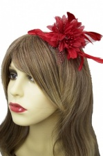Red Flower & Feather Comb Fascinator