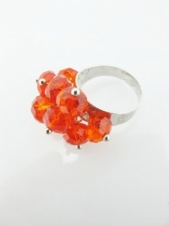 Red Glass Bead Cluster Adjustable Fashion Ring