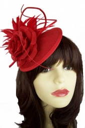 Red Contemporary Style Elegant Clip Fascinator