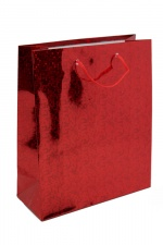 8 x Large Red Hologram Foil Christmas Gift Bags