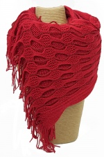 Red Knitted Style Scarf with a Net Effect