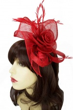 Red Large Hairband & Clip Fascinator