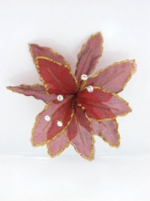 Red Organza Wired Flower Hairclip/Brooch with Crystal Stamens