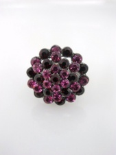 Red and Pink Crystal Cluster Cocktail Adjustable Ring