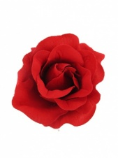 Red Rose Fabric Hair Flower Clip