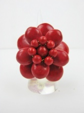 Red Semi Precious Stone Large Flower Ring