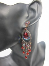 Red Sparkling Crystal Long Chandelier Fashion Earrings