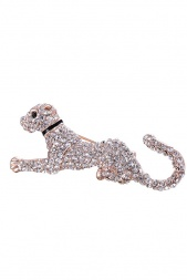 Rose Gold Sparkling Diamante CheetahBrooch