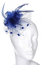 Royal Blue Crinoline & Netting Clip Fascinator