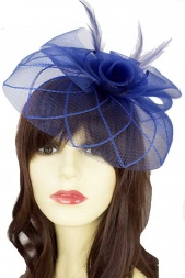 Royal Blue Crinoline Fascinator with Clip & Hairband