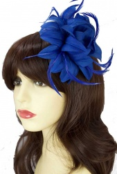 Royal Blue Flower & Feather Clip Fascinator