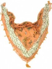Square Coral Butterfly Tassle Scarf