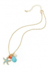 Gold & Turquoise Starfish & Stone Charm Necklace