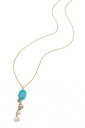 Long Gold Sea Charm Necklace with Turquoise Stone