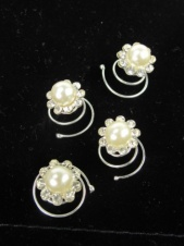 Set of Four Pearl and Crystal Hair Coils