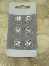 Set of Six Crystal End Hair Coils