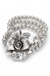 Elasticated Silver Ball Bracelet with Flower