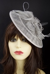 Silver Grey Saucer Hat Fascinator with Hairband   Clip 321c3af35aa