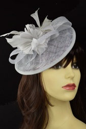 Silver Grey Small Hat Fascinator with Hairband & Clip