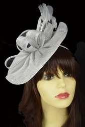Silver Grey Sinamay Hat Fascinator with Sparkles