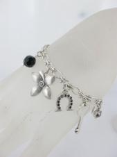 Silver and Black Lucky Charm Fashion Bracelet
