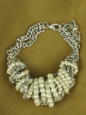Silver Chain, Faux Pearl and Crystal Fashion Bracelet