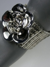 Silver Effect Elasticated Chunky Bracelet with Large Silver Rose