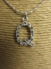 Silver Effect Necklace with Sparkling Crystal Initial ''Q'' Pendant