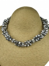 Silver Glass Bead Fashion Necklace
