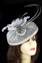 Silver Grey Sinamay Flower & Quill Hat Fascinator