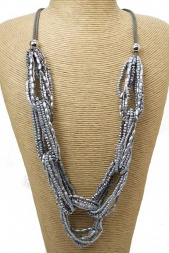 Long Silver Grey Beaded Chain Fashion Necklace