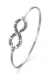 Silver Colour Infinity Bangle with ''Love the Life you Live''