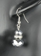 Silver Sparkling Bead Fashion Earrings
