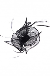 Small Black Sinamay & Feather Clip Fascinator