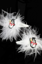 Snowman & Feather Christmas Hair Clips