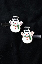 Pair of Christmas Snowman Hair Clips