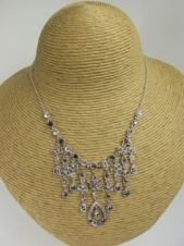 Sparkling Grey and Clear Crystal Ornate Necklace