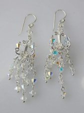 Sparkling Long Chandelier Clear Crystal Sterling Silver Earrings