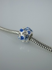 Sterling 925 Silver & Blue Crystal Glass Charm Bead